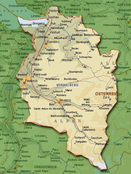 Карта Форарльберга (Eine karte von Vorarlberg)