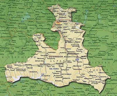 Карта Зальцбургерланда (Salzburgerland)