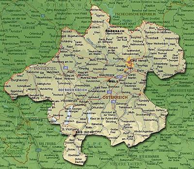 Карта Верхней Австрии (Oberoesterreich)