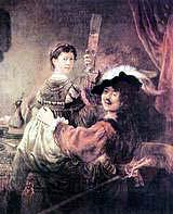 Рембрандт 'Автопортрет с Саскией на коленях', (1635)