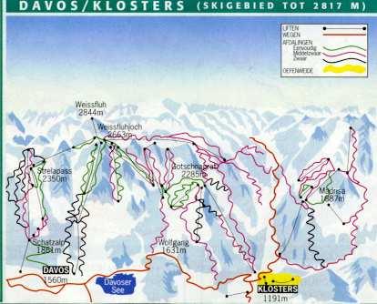 Карта лыжных склонов в Давосе