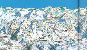 Карта Гштаада. Бернские Альпы. Швейцария