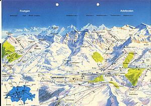 Карта снежных дорог Альгебоден-Фрутиген. Бернские Альпы. Швейцария