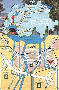 Карта курорта Ивердон. Кантон Невшатель. Швейцария