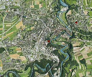 Подробная карта Фрибурга и ближайших окрестностей.