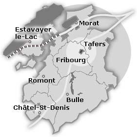 Карта кантона Фрибург. Швейцария