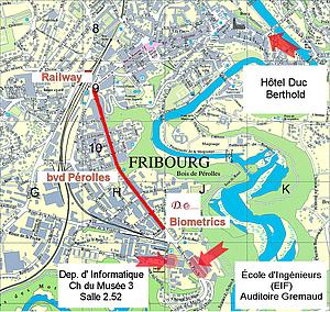 Подробная карта города Фрибурга. Швейцария