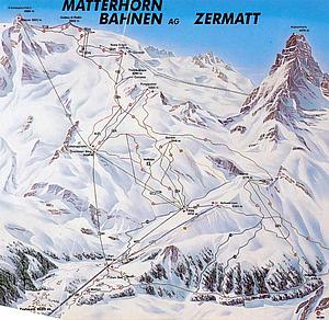 Карта снежных дорог Маттерхорн.Кантон Вале. Швейцария