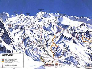 Карта горных дорог Церматта. Кантон Вале. Швейцария