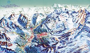 Карта снежных дорог Саас-Фе. Кантон Вале. Швейцария