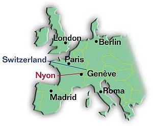 Карта Ниона и ближайших столиц. Кантон Во. Швейцария