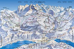 Карта снежных дорог Юнгфрау. Швейцария