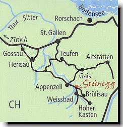 Карта Аппенцелля и близ лежащих территорий. Восточная Швейцария