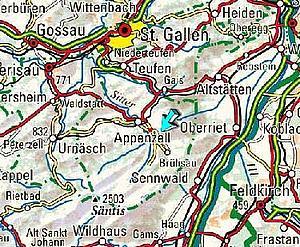 Карта Аппенцелля иблиз лежащий городов. Восточная Швейцария