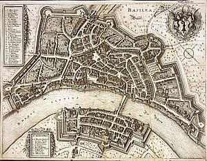 "Базель. ""Topographia Helvetiae, Rhaetiae et Valesiae.""  by Matthäus Merian Frankfurt a. M. 1642"