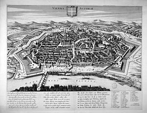 Вена. Источник: Stadsgezichten met verzen in drie talen by Jonghe, C. de (1650-1700)