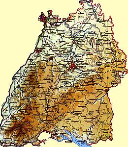 Географическая карта Баден-Вюртемберга
