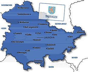 Карта Тюрингии