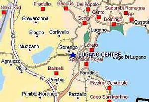 Лугано. Карта местности. Швейцария